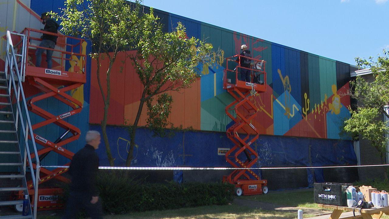 Ontwikkeling Grassoterrein te zien in muurschildering