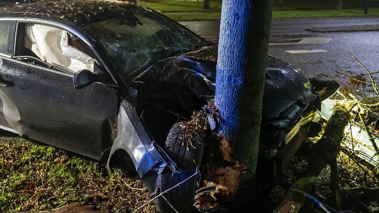 Auto ramt boom in Oss, bestuurder komt met de schrik vrij