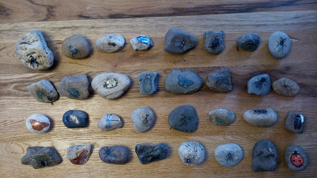 Op zoek naar stenen in Megen voor een ijsje