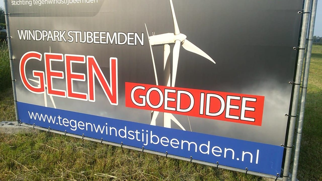 Actie tegen komst windmolens Stijbeemden bij inloopavond Demen