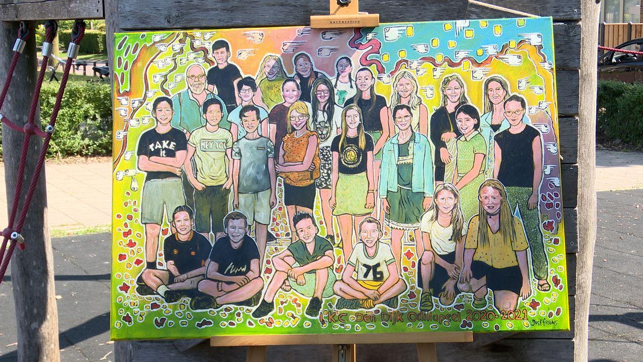 Groep 8 Den Dijk neemt afscheid met bijzonder schilderij