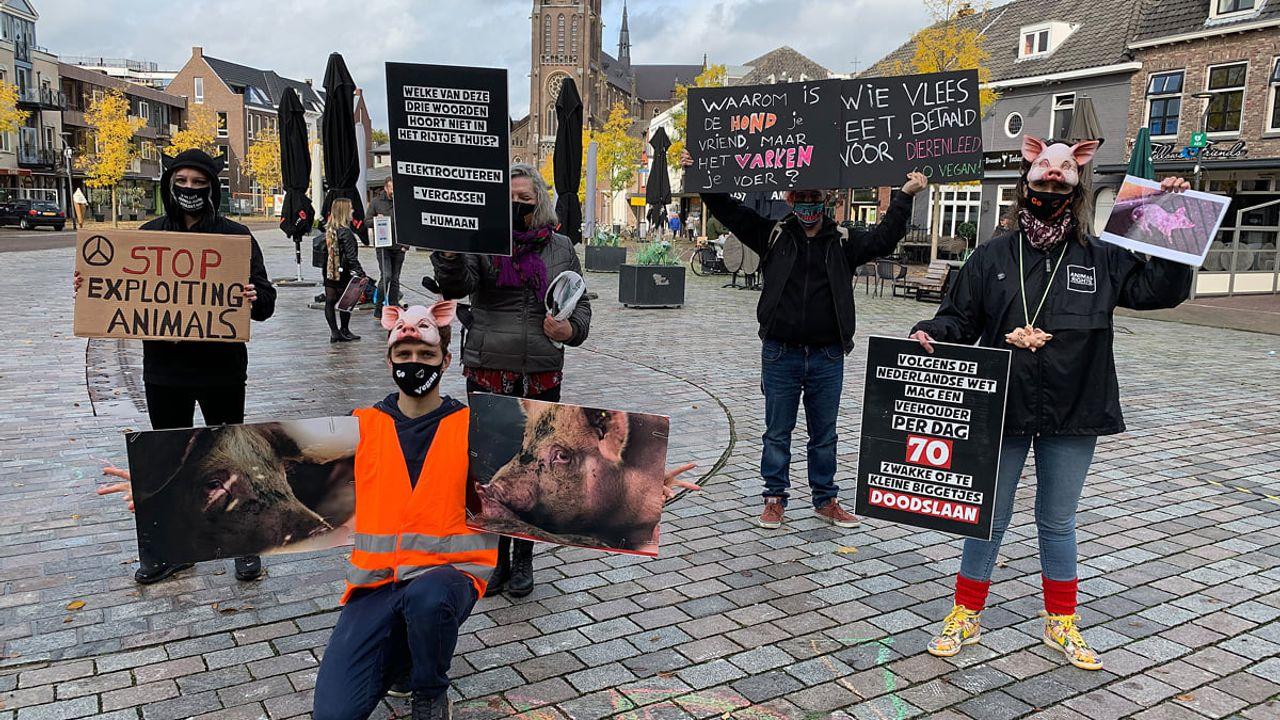 Protest tegen varkenswinkel in Veghel rustig verlopen