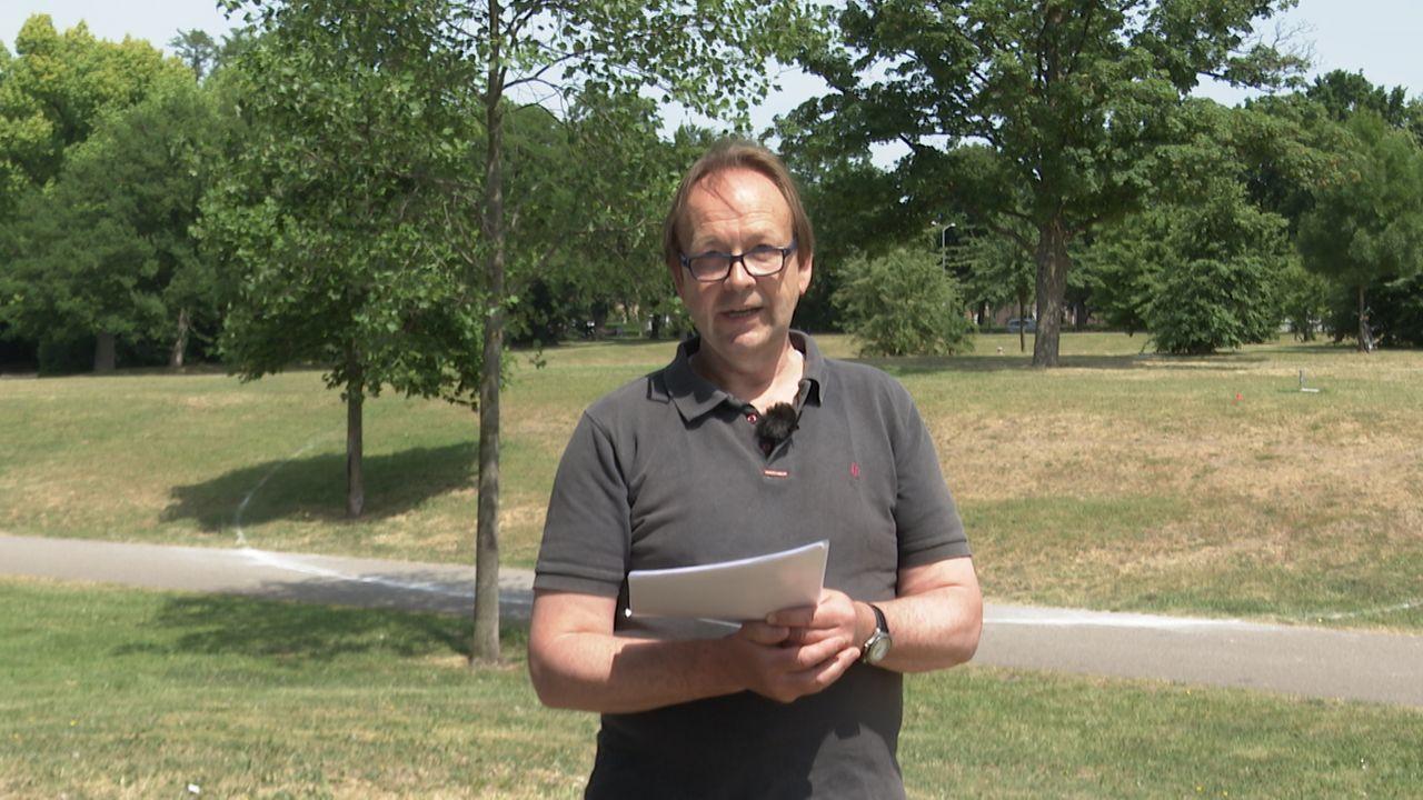 Met verfcirkels en poëzie voeren omwonenden Brabantbad actie tegen woontorens