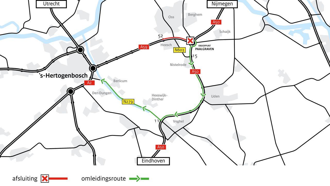 Weekend lang geen verkeer over A59 van Paalgraven tot afrit Oss/Heesch