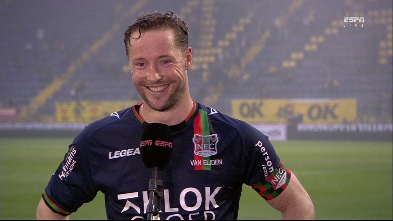 Osse verdediger Rens van Eijden promoveert met NEC naar Eredivisie: 'Op het juiste moment gepiekt'