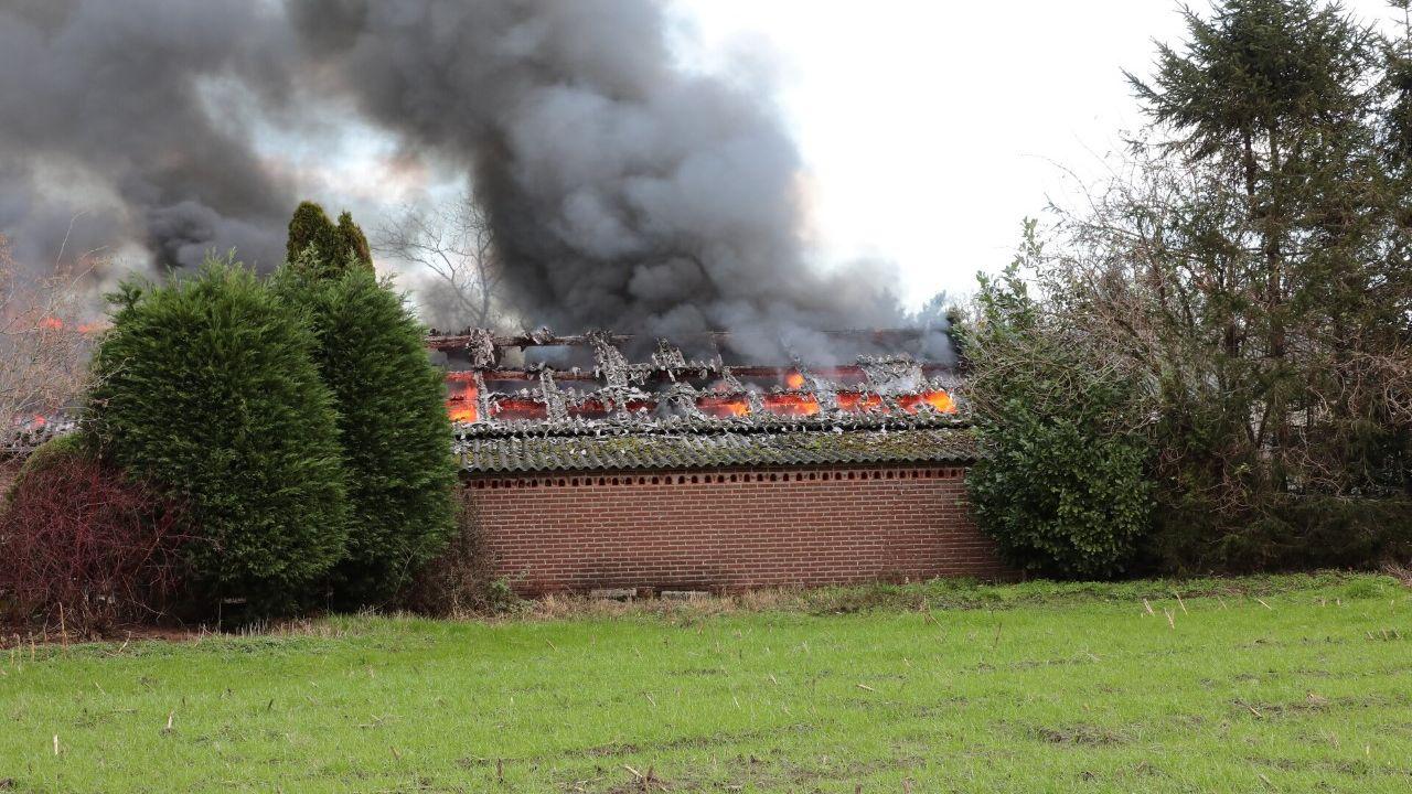 Grote brand bij loods aan de Amsteleindstraat in Oss