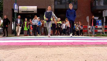 Het regenboogzebrapad in Heeswijk-Dinther is woensdag officieel in gebruik genomen door de 7-jarige bedenker Ferre Otjens.